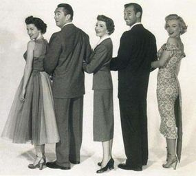 Despite an accomplished cast, Let's Make It Legal does not rise above transparent romantic comedy. From left, Barbara Bates, Macdonald Carey, Claudette Colbert, Zachary Scott, and Marilyn.
