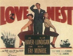 A Love Nest lobby card. Note the prominence of Marilyn's billing.