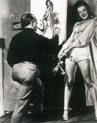 Norma Jeane modeled many times for illustrator Earl Moran, who shot photos for his own reference.