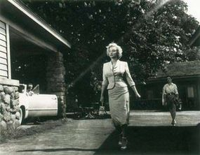 """The variety of form-fitting outfits worn by Marilyn in Niagaratook on added dimension when the star swung into the famous """"Monroe walk."""""""