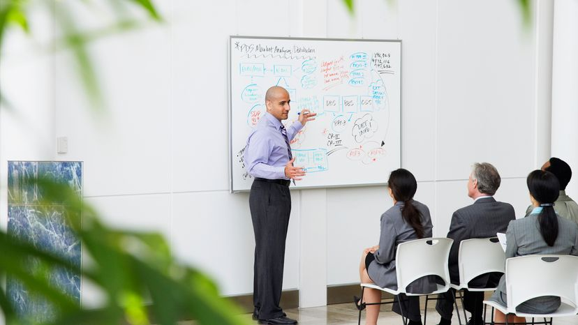 Man explaining marketing plan for company