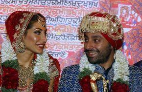 Indian bride Priya Sachdev and groom Vikram Chatwal before their wedding ceremony in New Delhi in February 2006.