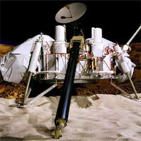 """NASA's Viking Project became the very first U.S. mission to land a spacecraft successfully on the surface of Mars. This shot shows a test version of a Viking lander in the original """"Mars Yard"""" built at NASA's Jet Propulsion Laboratory in 1975."""