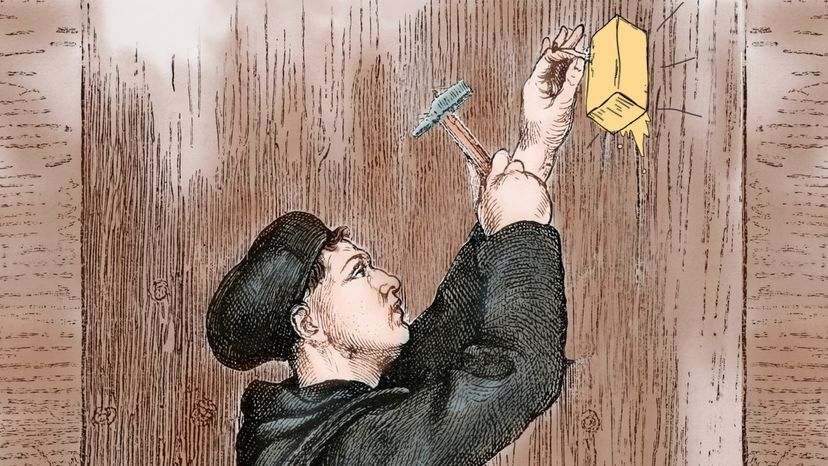 Martin Luther nailing butter to door