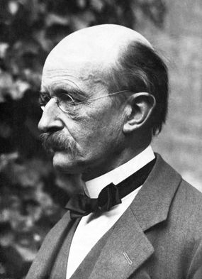 elderly German one person studio shot head and shoulders portrait side view Western European descent prominent persons science male bald Max Planck