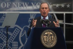 New York Mayor Michael Bloomberg delivers his inauguration speech after taking the oath of office on Jan. 1, 2010, at City Hall in New York City.