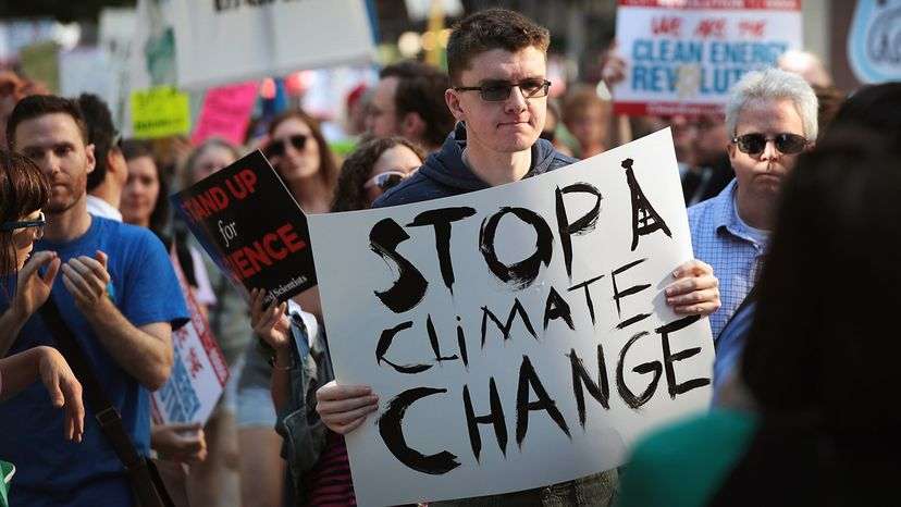 Demonstrators protest President Donald Trump's decision to exit the Paris climate change accord. Scott Olson/Getty Images
