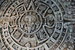 Mayan calendar carved in stone.