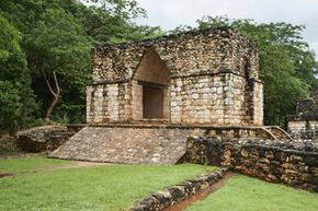 Entrance arch of the Maya excavation Ek Balam  in Yucatan, Mexico. See more pictures of the Mayan civilization.