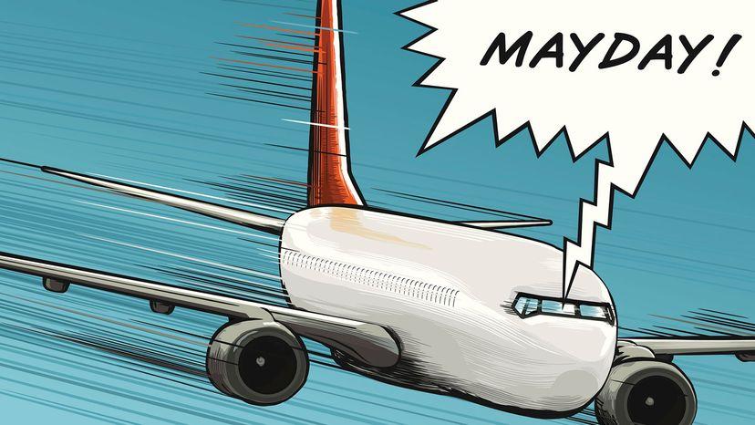 cartoon of plane calling mayday