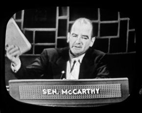 """McCarthy on the premiere broadcast of the TV show """"Face the Nation,"""" Nov. 7, 1954"""