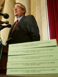 On May 5, 2003, associate U.S. Senate historian Dr. Donald Richie speaks at a media conference on the release of McCarthy era records.