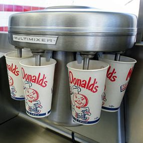 The McDonald brothers were getting so much business that they needed eight Multimixers, machines that make five milkshakes at once. Today, a Multimixer sits as a museum piece in the replica of an early McDonald's.