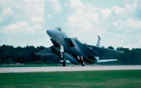 Computer technology eliminated design bugs before a single piece of the McDonnell Douglas F-15 Eagle had been fabricated. The plane is lighter and more nimble than the Phantom it replaced; a power-to-weight ratio of 1.17:1 allows a potent rate of climb.