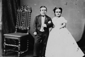 General Tom Thumb and his wife Lavinia Warren are pictured here in 1863.