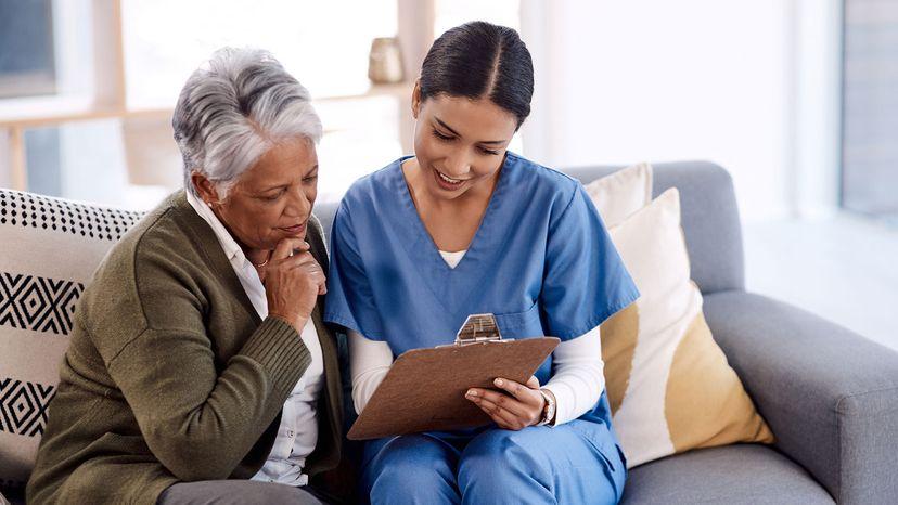 elderly lady with nurse