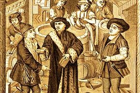 The 15th century bishop of Tournai is shown receiving a tithe of beer from tenants on his lands. Beer was commonly used to pay taxes and tithes in the Middle Ages.