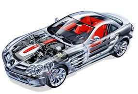 Just like a Formula One racing car, the bodywork of the new Mercedes-Benz SLR McLaren is made of carbon fiber.