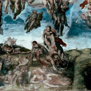 This detail from Michelangelo's Last Judgment (fresco 48 x 44 feet) is painted on the wall and ceiling of the Sistine Chapel, Vatican.