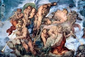 The seven angels from the book of Revelation is a detail from Michelangelo's Last Judgment.
