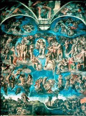 Last Judgment by Michelangelo was a controversial but important fresco (48 x 44 feet) that can be seen in the Sistine Chapel, Vatican. See more pictures of works by Michelangelo.