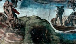 Hell's Mouth is a detail from Michelangelo's Last Judgment (fresco 48 x 44 feet) in the Sistine Chapel, Vatican.