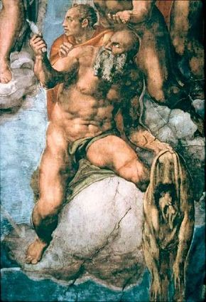 Michelangelo's St. Bartholomew is seen to the right of located in the Sistine Chapel, Vatican.