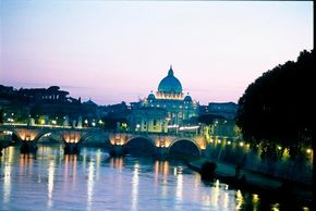 """Rome's skyline is dominated the dome of St. Peter's Basilica. Michelangelo wrote of it, """"Many believe -- and I believe -- that I have been designated for this work by God."""""""