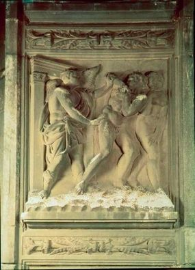 Jacopo della Quercia, Expulsion (1425-38). Michelangelo was exposed to Quercia's works during a visit to Bologna, and their influence is apparent in portions of the Sistine ceiling.
