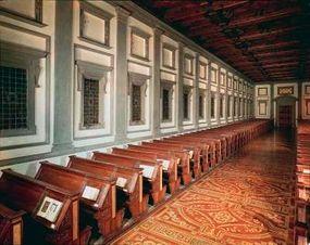 Laurentian Library wooden reading desks.