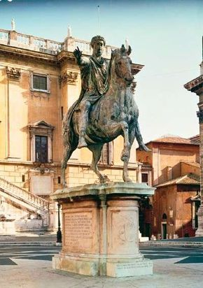 The equestrian statue of Marcus Aurelius at Piazza del Campidoglio, Rome. The marble base was made by Michelangelo.