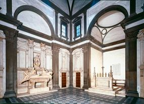 An interior view of the Medici Chapel with                              Michelangelo's tomb for his former patron,                                            Lorenzo de' Medici (1520-34).