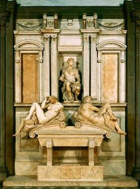 The tomb of Giuliano de' Medici by Michelangelo                              (20 feet 8 inches x 13 feet 9 inches) is                                            made from marble and is located inside the                                            Medici Chapel in San Lorenzo, Florence.