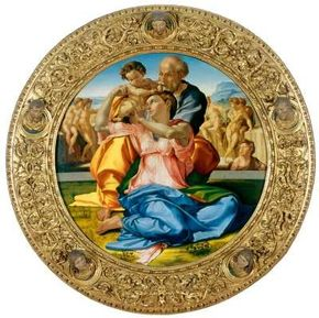 Doni Madonna by Michelangelo is a tempera on wood and resin (total diameter with frame 47-1/2 inches), which can be seen at Galleria degli Uffizi, Florence.