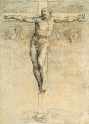 Michelangelo's Crucifixion (c. 1541) is a black and white chalk drawing (16-3/8 x 11-1/4 inches) that belongs to the British Museum, London.