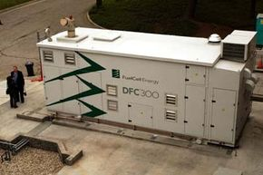 While barely the size of a tractor-trailer, Los Angeles' John Ferraro Building Fuel Cell Power Plant provides enough energy for 250 homes. This technology plays a key role in many microgrid plans.