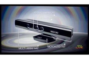 The Microsoft Kinect sensor as shown in a press briefing in June 2010