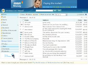 Windows Live offers e-mail users a traditional inbox view.