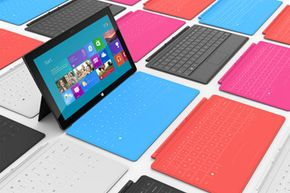 You can get two different types of keyboards in a variety of colors. They attach to the Surface with magnets.
