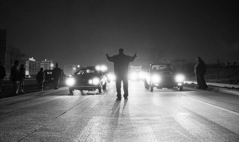 A man starts a drag race in Newark, New Jersey. Matthew Wakem/Photolibrary/Getty Images
