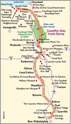 This map details Canalway Ohio Scenic Byway.