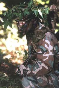 A U.S. Marine in full camouflage gear: The colors match his surroundings, and the disruptive pattern conceals the contours of his body.