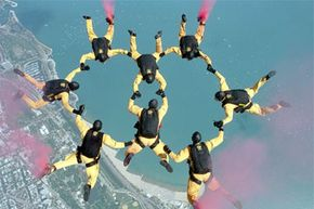 The United States Air Force Golden Knights are an experienced parachute team that performs at many events. See our collection of military jets pictures.