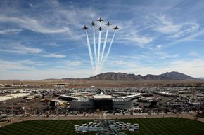 Despite the prohibition against flyovers at sporting events, they occur all the time, like this one before the NASCAR Sprint Cup Series Shelby 427 at the Las Vegas Motor Speedway in March 2009.
