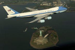This photograph is one of several official images released by the White House/DoD after the controversial NYC Air Force One flyover in April 2009.