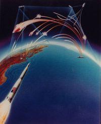An artist's concept of an interceptor -- a key element of the Strategic Defense Initiative (Star Wars).