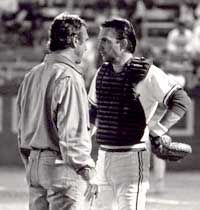 """Moviemaker Ron Shelton (left) and actor Kevin Costner during the making of """"Bull Durham"""" at the DAP"""