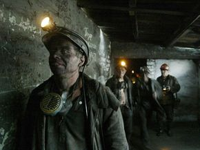 A group of Ukranian coal miners at the end of a work day.