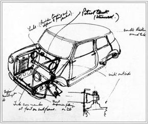 The concept drawing of the first Mini Cooper.