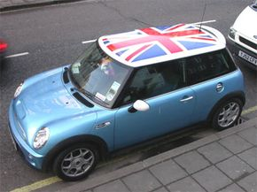 A MINI Cooper with Union Jack roof graphic